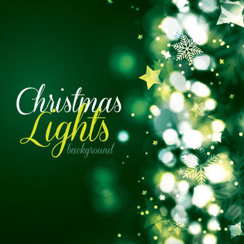 Green Christmas Card with Lights Background - vector gratuit #167865