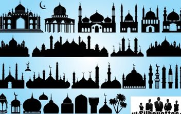 Silhouette Islamic Mosque Pack - Free vector #168015