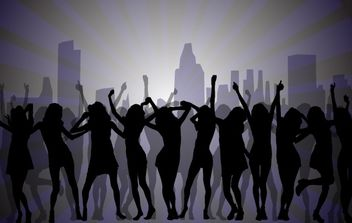 Dancing Girls with City Background - vector gratuit(e) #168075