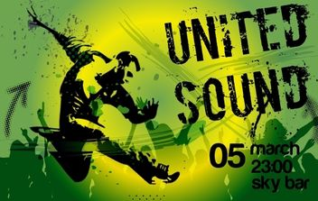 Grungy Green Musical Flyer - vector #168115 gratis