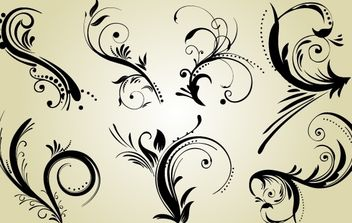 Swirly Black Ornaments Pack - Free vector #168125
