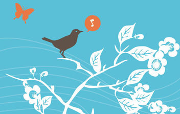 Cute Vector Spring Bird - vector gratuit #168725