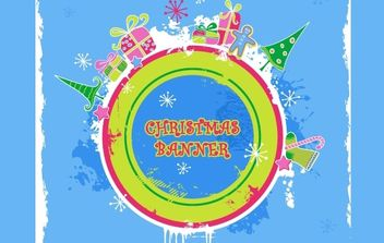Cute candy-colored christmas banner - vector #169575 gratis