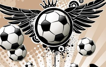Football with wings and stars - Free vector #169875