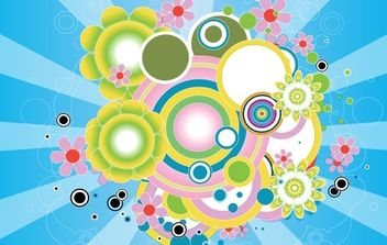 Colorful psychedelic circles - Free vector #170105