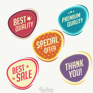 Colorful Vintage Elliptical Label Set - Kostenloses vector #170415