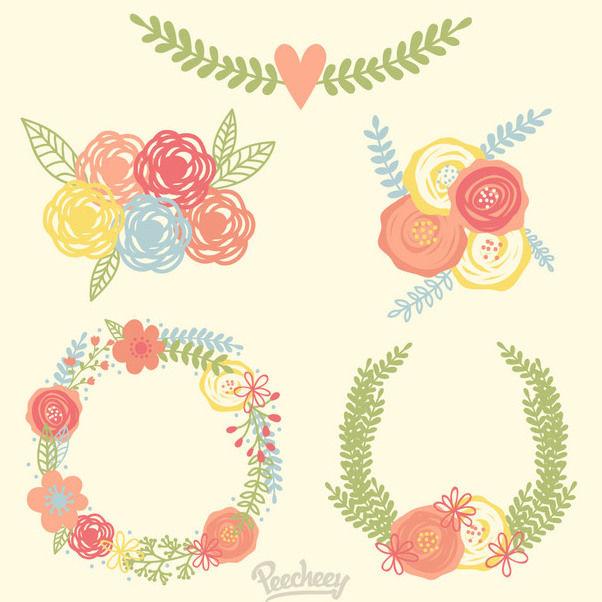 Abstract Floral Wreath & Bouquet Bundle - vector #170435 gratis