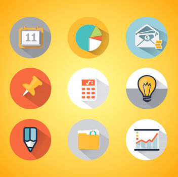 Colorful Diagram & Business Icons - Free vector #170505