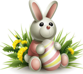 Bunny Easter with Egg & Grasses - Free vector #170545