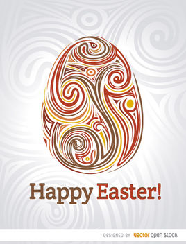 Easter egg swirls poster - vector gratuit #170555