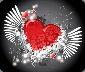 Abstract Floral Winged Heart - Free vector #170635