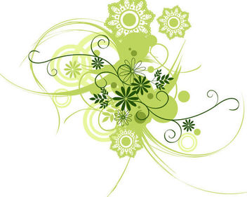 Green Spring Floral Swirls Circles & Ornaments - Free vector #170765