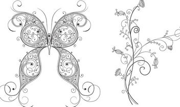 Decorative Butterfly and Floral Ornament - Kostenloses vector #170825