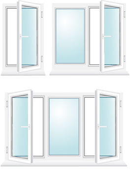 Glossy Window Set with Blue Glasses - Free vector #170835