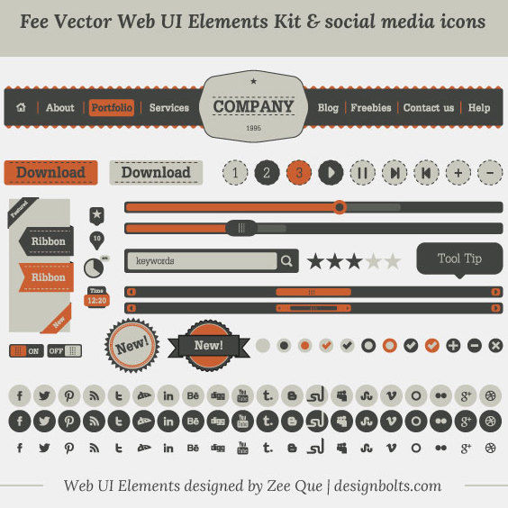 Vintage UI Kit and Social Media Icons - vector #170885 gratis