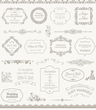 Wedding Frames, Badges and Ornaments - бесплатный vector #171415