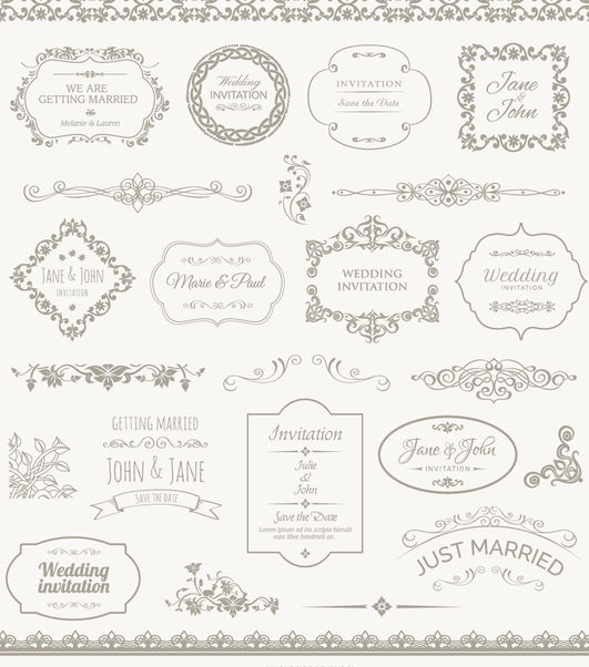 Wedding Frames, Badges and Ornaments - Free vector #171415