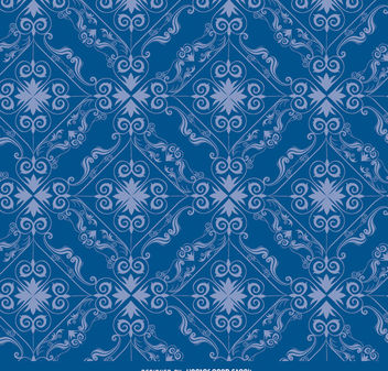 Rhomb swirls blue pattern - Free vector #171445