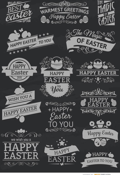 15 Easter chalk emblems - Free vector #171495