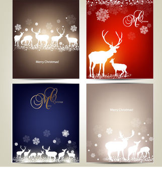 Template Christmas Card Pack - Free vector #171585