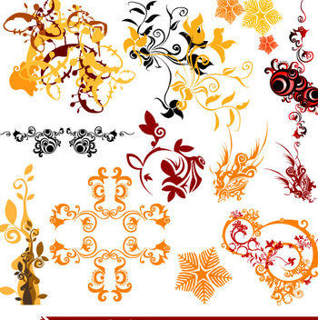 Beautiful Floral & Swirls Pack - Free vector #171735