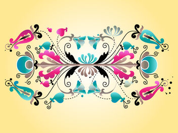 Floral Decorative Symmetrical Scrolls - Free vector #171765