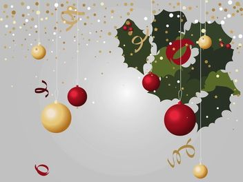 Xmas Layout with Mistletoe and Decorations - Free vector #171795