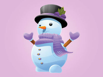 Funky Snowman with Matching Winter Cloths - Free vector #171805