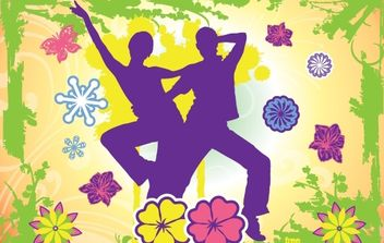 Happy Dancing Couple with Nature Frame - vector gratuit #171985