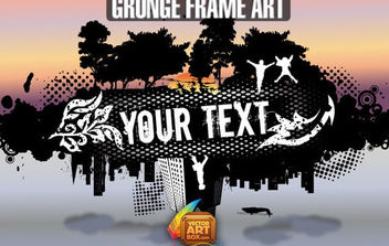 Grunge City and Nature Frame - Free vector #172255