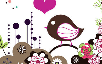 Bird Card - vector #172295 gratis