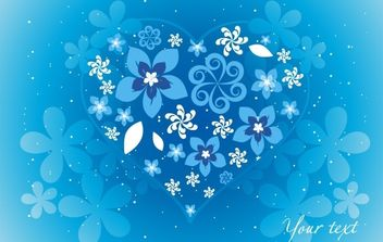 Blue Floral Heart - Free vector #172435