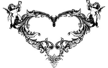 FANTASY HEART ANGEL ORNATE FREE VECTOR - Free vector #172495