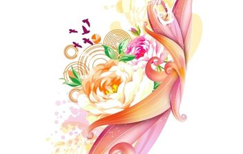 Pink rose vector art - Free vector #172555