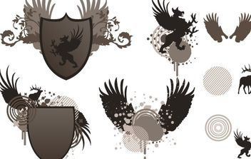 Shield and wing free vector - Free vector #172585