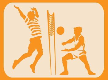 Beach Volleyball Sketch Silhouette - Free vector #173025