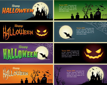 Creepy Halloween Header Banner Pack - Free vector #173055