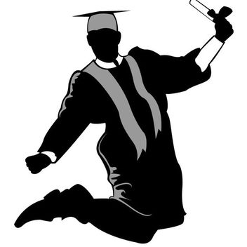 Happy Graduate Silhouette Jumping in the Air - vector gratuit #173075