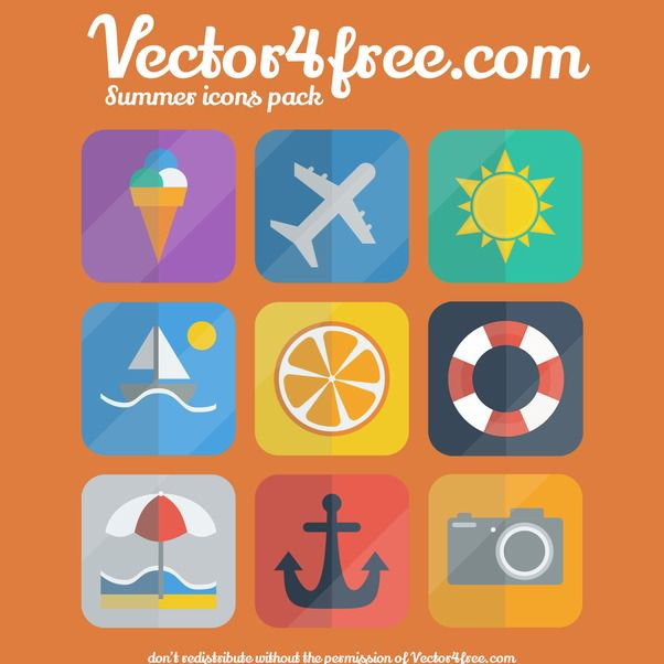 Flat Summer Icon Set on Rounded Corner Square - Free vector #173125