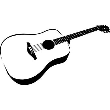 Hand Traced Black & White Guitar - vector gratuit #173295