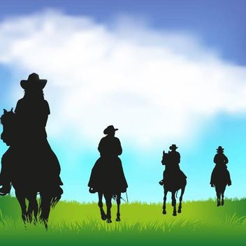 Cowboy Silhouettes with Horses - Kostenloses vector #173365