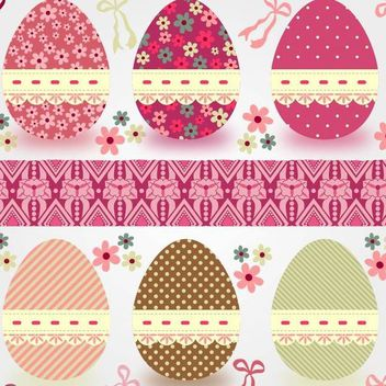 Funky Easter Eggs Decoration - Free vector #173375