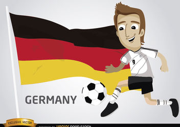 German footballer with flag - vector gratuit #173385