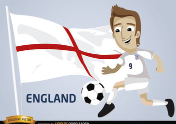 England football player with flag - vector gratuit #173395