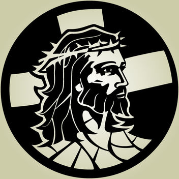 Black & White Artistic Jesus Christ - vector gratuit #173625