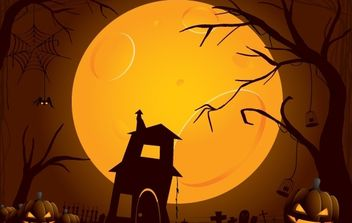 Creepy Halloween Night Illustration - Free vector #173755
