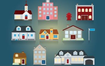 Church and House Pack - Free vector #174005