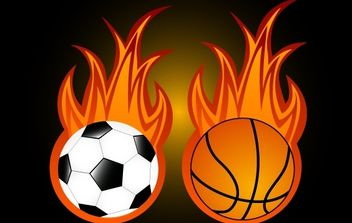 Two Sport Balls with Flame - vector gratuit #174135