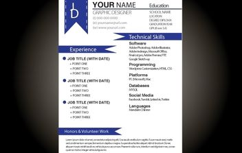 Blue Basic Resume Template - vector #174205 gratis