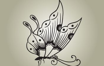 Black & White Butterfly Vector - Free vector #174405
